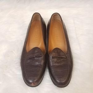 A. Testoni Brown Leather Croc Embossed Loafers